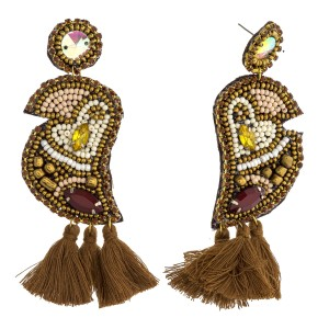 """Seed beaded felt parrot drop earrings with rhinestone details. Approximately 3.5"""" in length."""