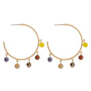 """Natural stone bead accented open hoop earrings.  - Approximately 2"""" in diameter"""
