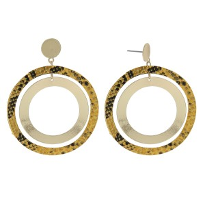 """Nested open circle drop earrings with snakeskin details.  - Approximately 2"""" in diameter"""