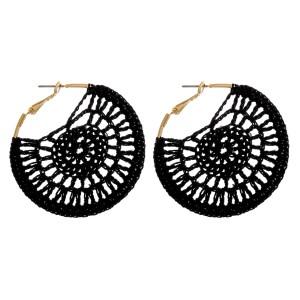 "Crochet hoop earrings.  - Approximately 2"" in diameter"