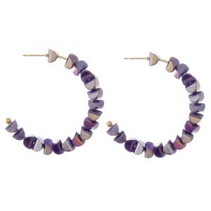 "Faceted Sequin Beaded Statement Hoop Earrings.  - Approximately 2"" in diameter"
