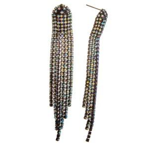 """Rhinestone tassel earrings. Approximately 3.5"""" in length."""