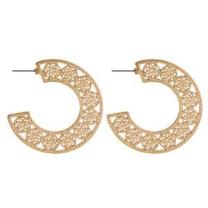 """Metal flower filigree open hoop earrings.   - Approximately 1.5"""" in diameter"""