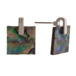 """Abalone resin stud earrings.  - Approximately .5"""" x .5"""""""