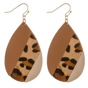 """Multi faux leather leopard print teardrop earrings.  - Approximately 2.5"""" in length"""