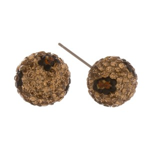 Leopard print rhinestone stud earrings.  - Approximately 12mm in diameter