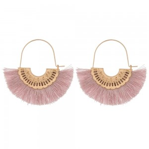 "Fringe tassel encased wire hook hoop earrings.  - Approximately 2"" in length"