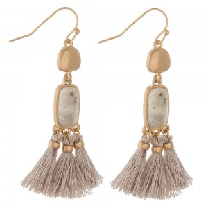 "Semi precious tassel drop earrings.  - Approximately 2"" in length"