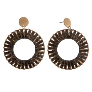 """Faux leather snakeskin wrapped open circle earrings.  - Approximately 2.5"""" in length and 2"""" in diameter"""