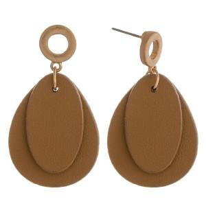 """Double faux leather teardrop earrings.  - Approximately 1.5"""" in length"""