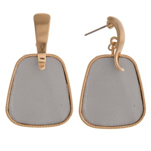"""Faux leather hinge dangle earrings.  - Approximately 1.75"""" in length"""
