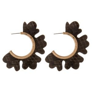 """Faux leather snakeskin flower cut out hoop earrings.  - Approximately 2"""" in diameter"""