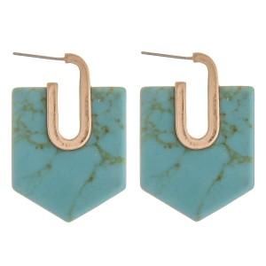 "Semi precious oblong hexagon hoop earrings.  - Approximately 1.5"" in length"
