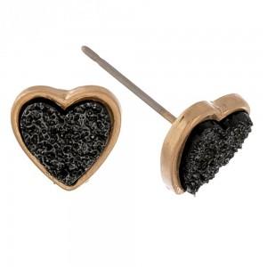 Druzy heart stud earrings.  - Approximately 1cm in size