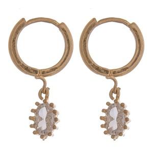 Gold clear oval rhinestone huggie hoop earrings.   - Approximately 2cm in length