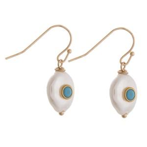 """Faux pearl rhinestone drop earrings.  - Approximately 1"""" in length"""