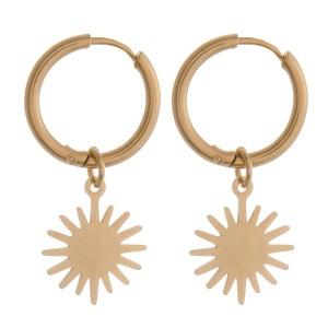 """Gold starburst huggie hoop earrings.  - Approximately 1"""" in length"""