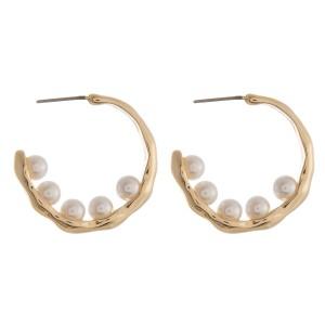 "Gold pearl beaded open hoop earring.  - Approximately 1.25"" in diameter"