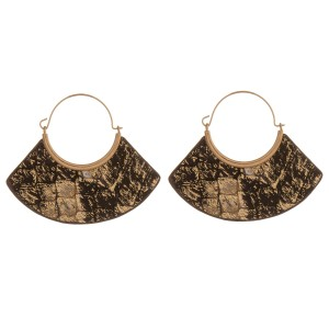 """Metallic genuine leather double sided snakeskin modern wire hook hoop earrings.  - Approximately 2"""" in length and 2.5"""" wide"""