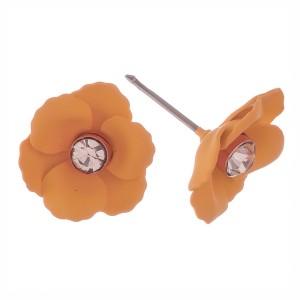 "Coated rhinestone flower stud earrings.  - Approximately .5"" in diameter"