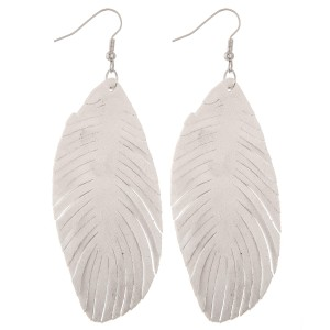 """Narrow faux suede feather cut out drop earrings.  - Approximately 4"""" L"""
