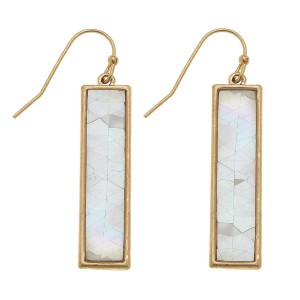 """Gold Mother of Pearl Shell coated bar drop earrings.  - Approximately 1.5"""" L"""