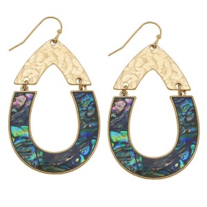 "Gold Abalone Shell coated hinge teardrop earrings.  - Approximately 2.25"" L"