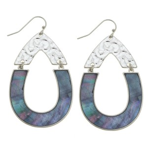 "Silver Mother of Pearl Shell coated hinge teardrop earrings.  - Approximately 2.25"" L"