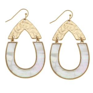 "Gold Mother of Pearl Shell coated hinge teardrop earrings.  - Approximately 2.25"" L"