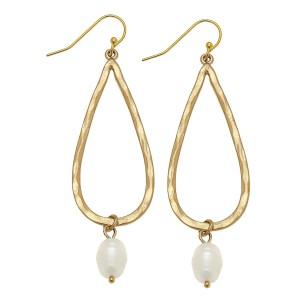 """Ivory Pearl Teardrop Earrings In Worn Gold.  - Approximately 2.5"""" L"""