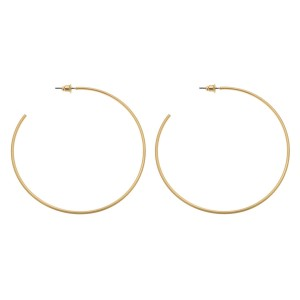 "Satin Gold Statement Hoop Earrings.  - Approximately 2.75"" in diameter"