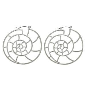 "Worn Silver Metal Cut Out Seashell Statement Hoop Earrings.  - Approximately 2"" in diameter"