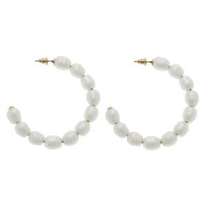 """Ivory Freshwater Pearl Beaded Hoop Earrings.  - Approximately 2"""" in diameter"""