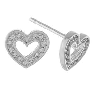 Dainty cubic zirconia open heart stud earrings.  - Cubic Zirconia  - Approximately 6mm in size