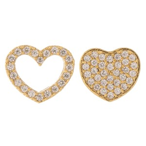 Gold dipped cubic zirconia mix match heart stud earrings.  - Cubic Zirconia  - Approximately 6mm in size