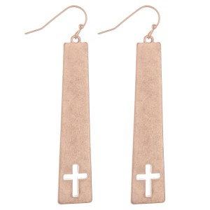 "Worn Metal Cross Cut Out Bar Earrings.  - Approximately 2.5"" L"