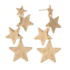"""Irregular Hammered Star Linked Drop Earrings in Worn Gold.  - Approximately 2"""" L"""