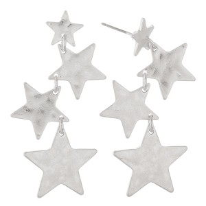 """Irregular Hammered Star Linked Drop Earrings in Worn Silver.  - Approximately 2"""" L"""