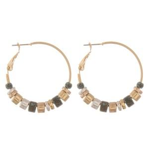 """Multi metal tone beaded hoop earrings.  - Approximately 1.5"""" in diameter"""