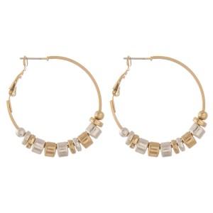 """Two tone beaded hoop earrings.  - Approximately 1.5"""" in diameter"""