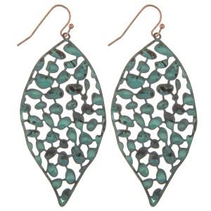"Metal curved filigree leaf drop earrings.  - Approximately 2.5"" L"