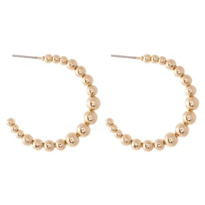 "Metal Tone Ball Beaded Open Hoop Earrings.  - Approximately 1.25"" in diameter"