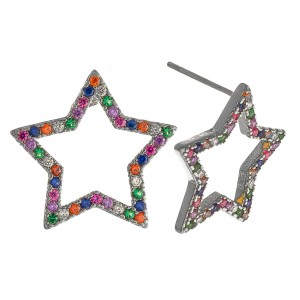 """White Gold dipped multicolor rhinestone star stud earrings.  - Approximately .5"""""""