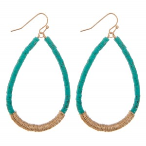 "Polymer Clay spacer disc beaded boho teardrop earrings.  - Approximately 2.5"" L"