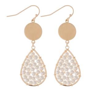 """Ivory Pearl Beaded Teardrop Earrings.  - Approximately 2"""" L"""