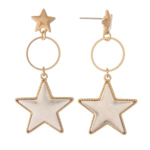 """Two Tone Star Drop Earrings with Star Stud Post.  - Approximately 2"""" L"""