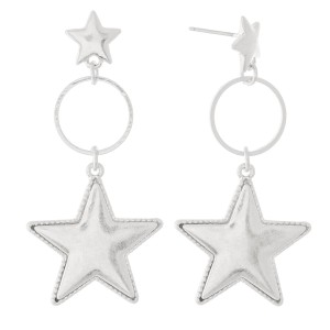 """Star Drop Earrings with Star Stud Post in Worn Silver.  - Approximately 2"""" L"""