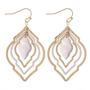 """Two Tone Metal Layered Moroccan Earrings.  - Approximately 2"""" L"""