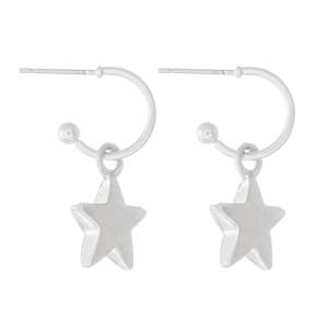 """Star Huggie Hoop Earrings in Worn Silver.  - Approximately 1"""" L - Hoop 1cm in diameter"""