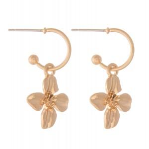 """Flower Huggie Hoop Earrings in Worn Gold.  - Approximately 1"""" L - Hoop 1cm in diameter"""
